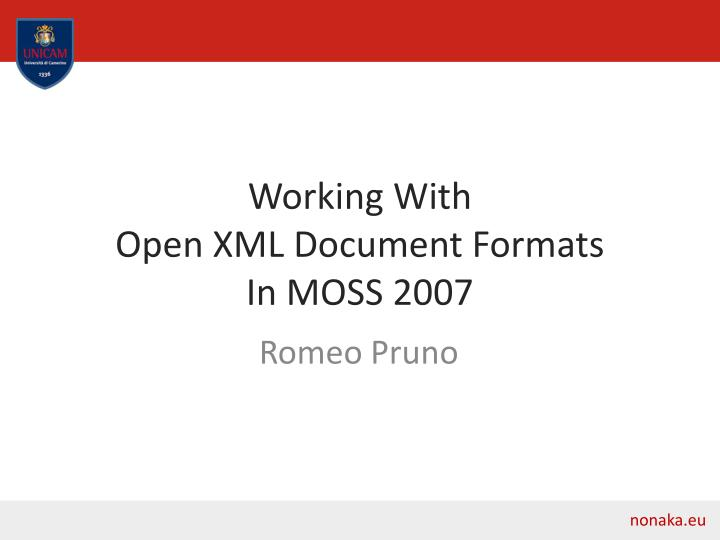 working with open xml document formats in moss 2007 n.