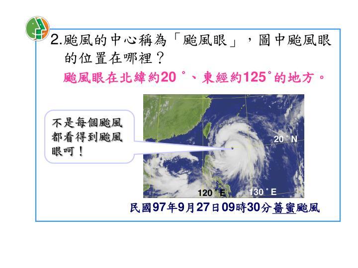 颱風的中心稱為「颱風眼」,圖中颱風眼的位置在哪裡?