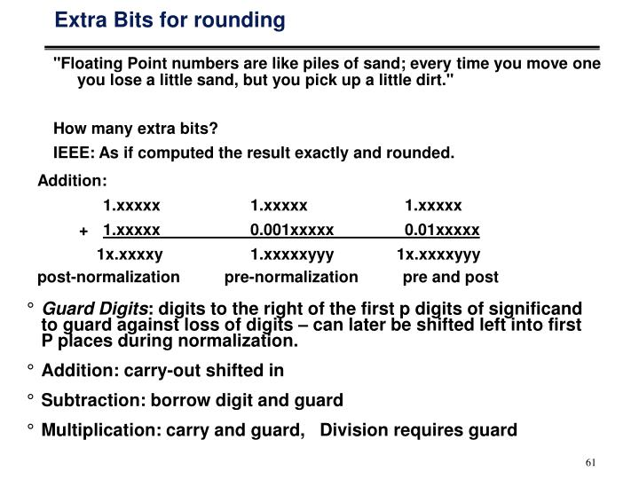 Extra Bits for rounding
