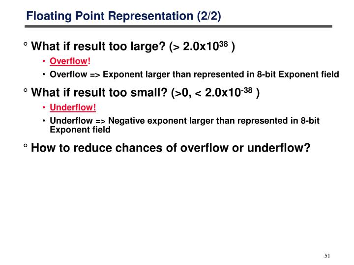 Floating Point Representation (2/2)