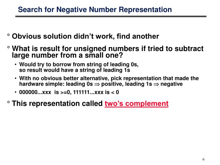 Search for Negative Number Representation