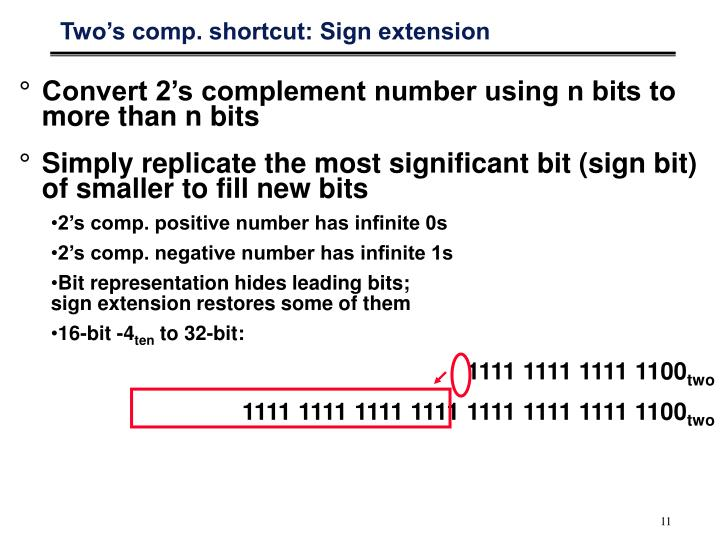 Two's comp. shortcut: Sign extension
