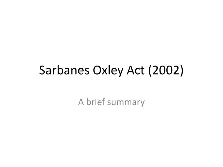 sarbanes oxley act 2002 n.