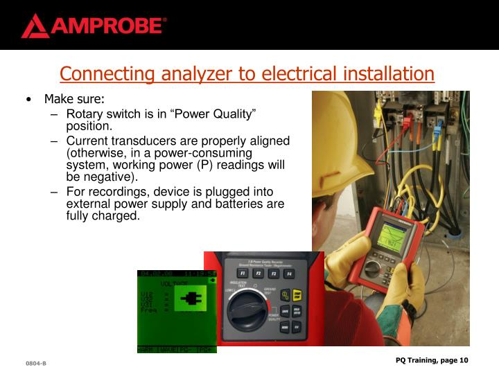 Connecting analyzer to electrical installation