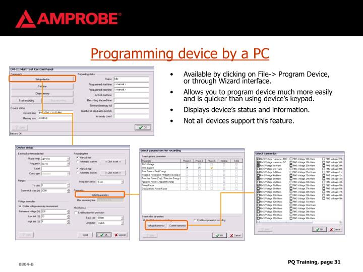 Programming device by a PC