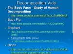 decomposition vids