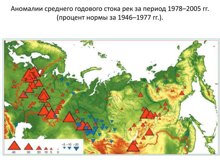 Аномалии среднего годового стока рек за период 1978–2005 гг. (процент нормы за 1946–1977 гг.).