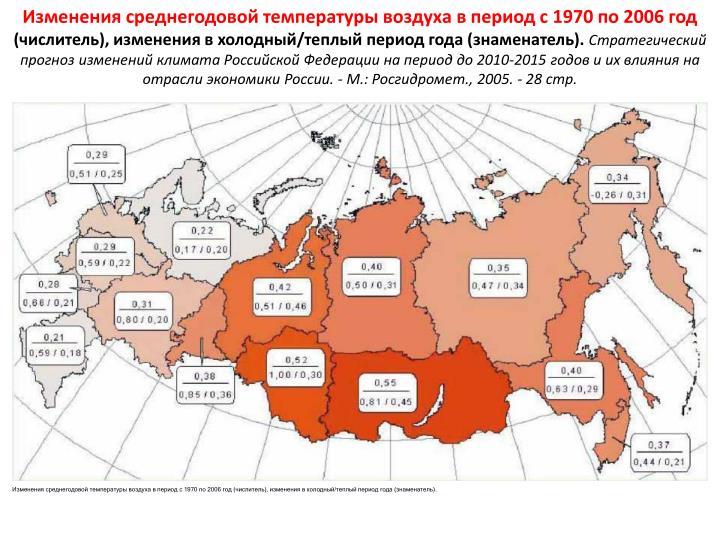Изменения среднегодовой температуры воздуха в период с 1970 по 2006 год