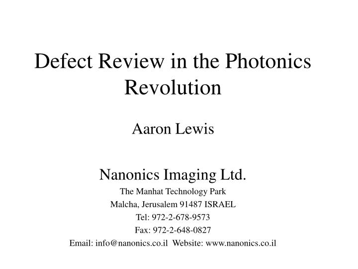 defect review in the photonics revolution n.