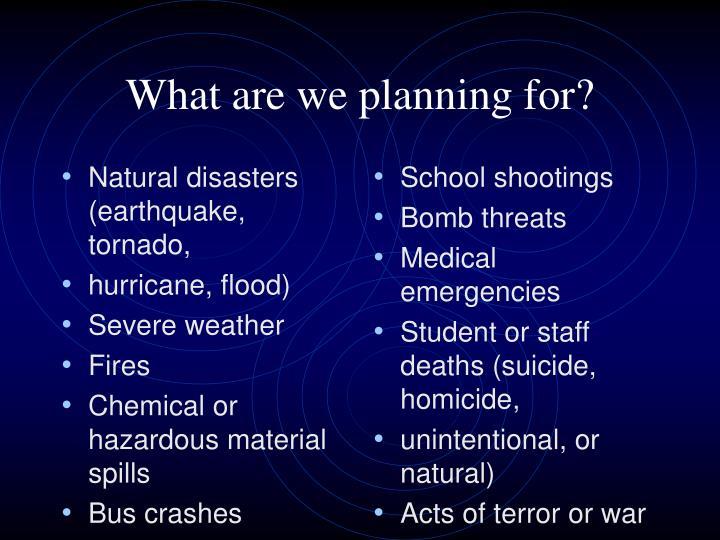 Natural disasters (earthquake, tornado,