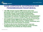 good corporate governance dan pengembangan pasar modal