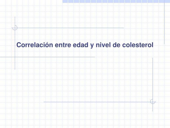 Correlación entre edad y nivel de colesterol