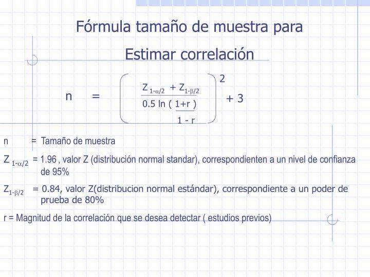 Fórmula tamaño de muestra para