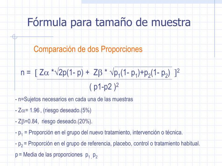 Fórmula para tamaño de muestra