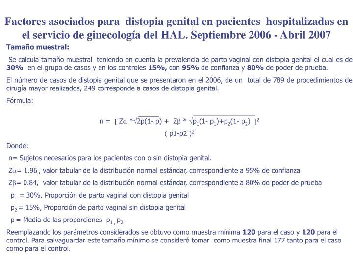 Factores asociados para  distopia genital en pacientes  hospitalizadas en el