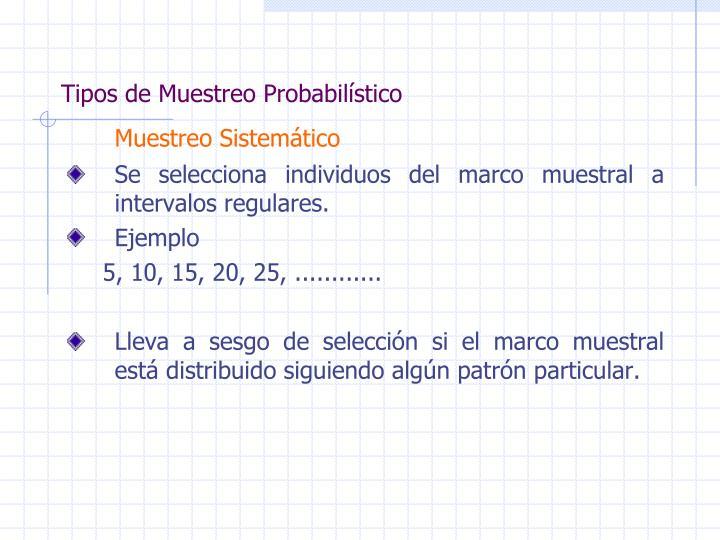 Tipos de Muestreo Probabilístico