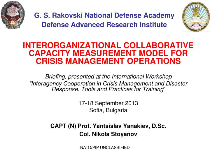 g s rakovski national defense academy defense advanced research institute n.