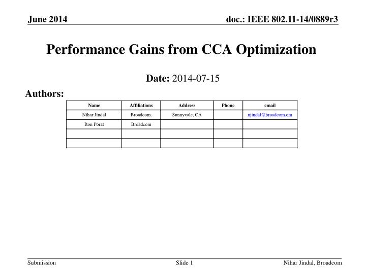 performance gains from cca optimization n.