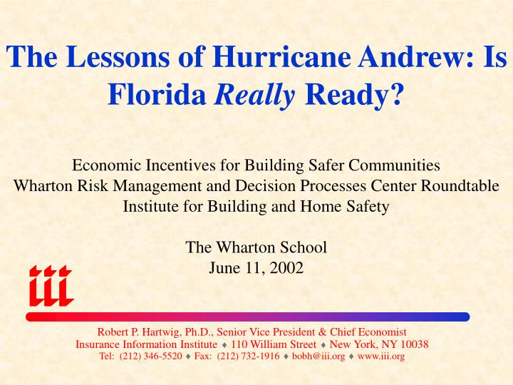 the lessons of hurricane andrew is florida really ready n.
