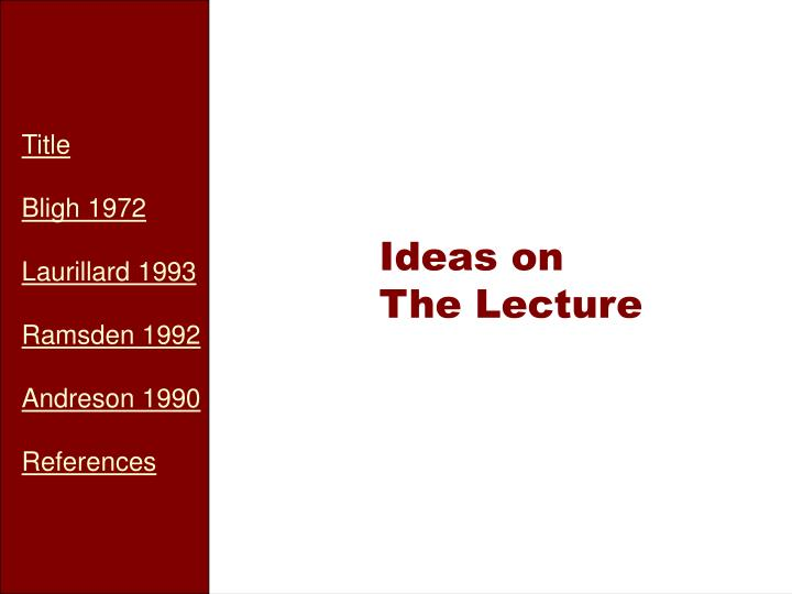 ideas on the lecture n.