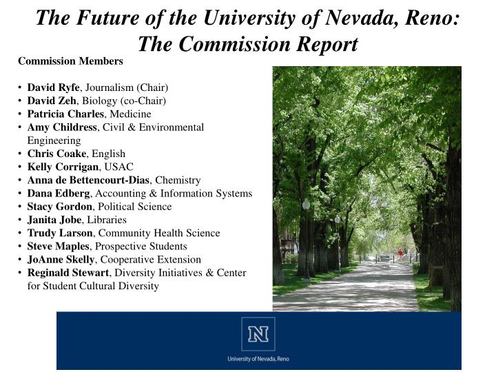 the future of the university of nevada reno the commission report n.
