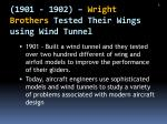 1901 1902 wright brothers tested their wings using wind tunnel