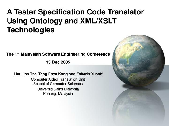 a tester specification code translator using ontology and xml xslt technologies n.