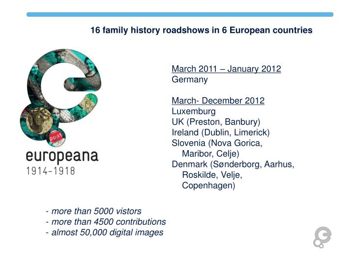 16 family history roadshows in 6 European countries