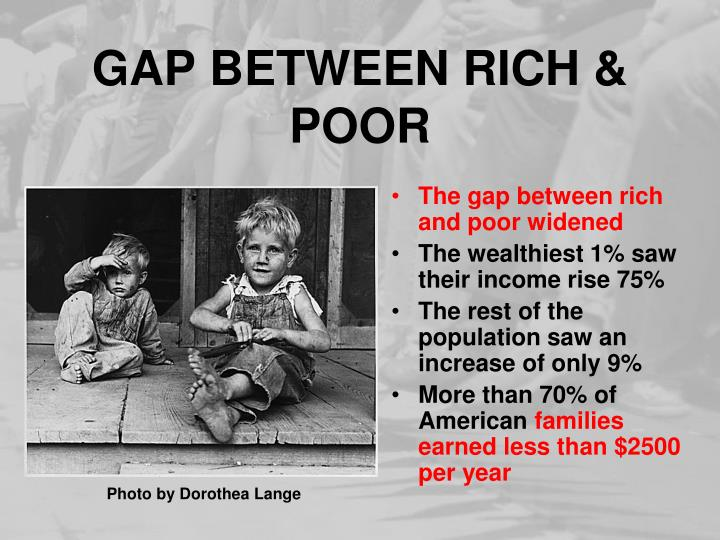 an analysis of the rising discrepancy among the rich and the poor The wealth discrepancy between upper-class and lower-class is also at its widest point in three decades, with lower-class families having a median net worth that is 70 times lower than the median.
