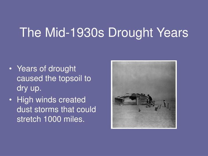 The Mid-1930s Drought Years