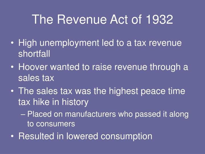 The Revenue Act of 1932
