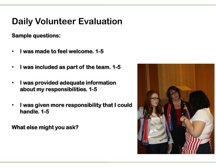 Daily Volunteer Evaluation