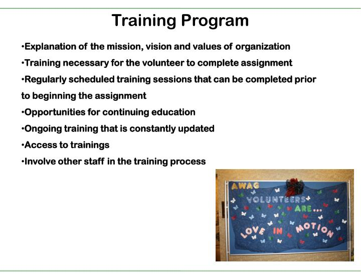 Explanation of the mission, vision and values of organization