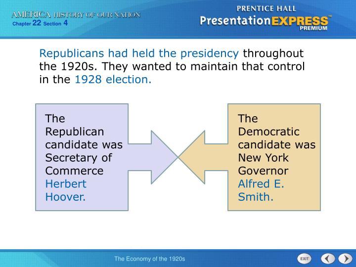 Republicans had held the presidency