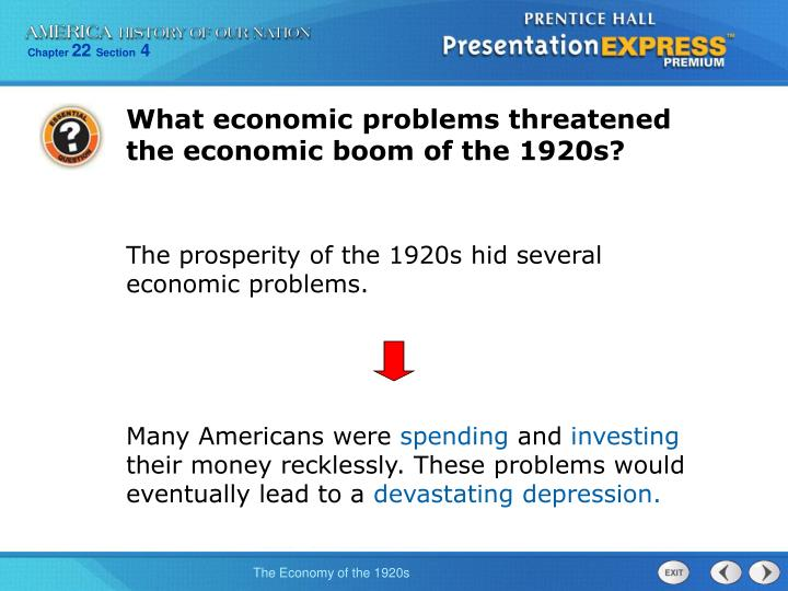 What economic problems threatened the economic boom of the 1920s?