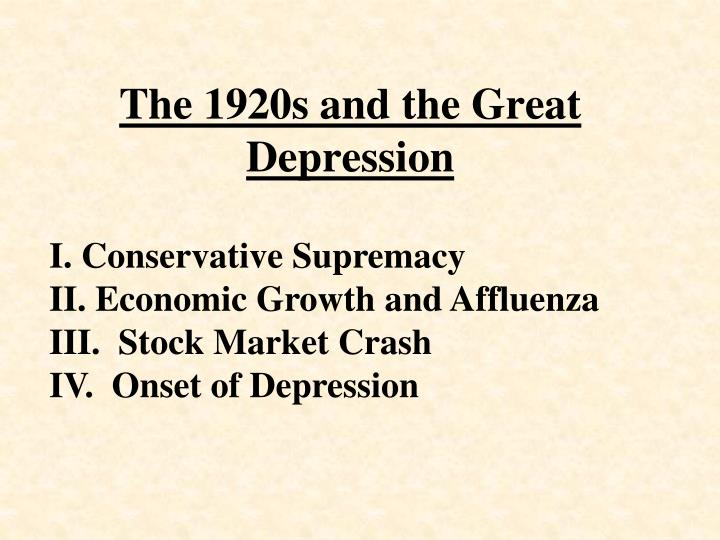the 1920s and the great depression n.