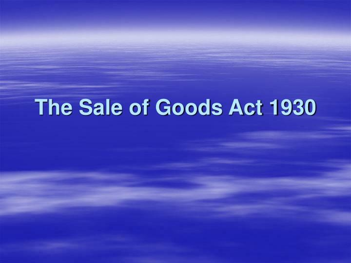 the sale of goods act 1930 n.