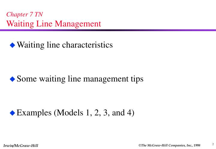 PPT - Chapter 7 TN Waiting Line Management PowerPoint