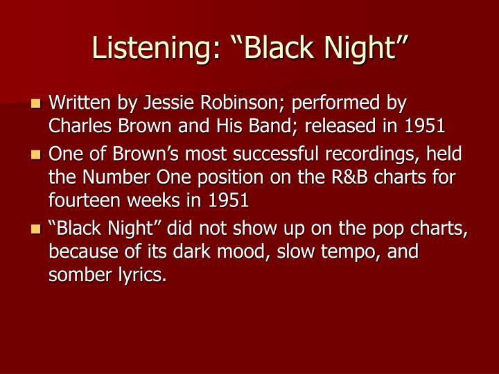 """Listening: """"Black Night"""""""