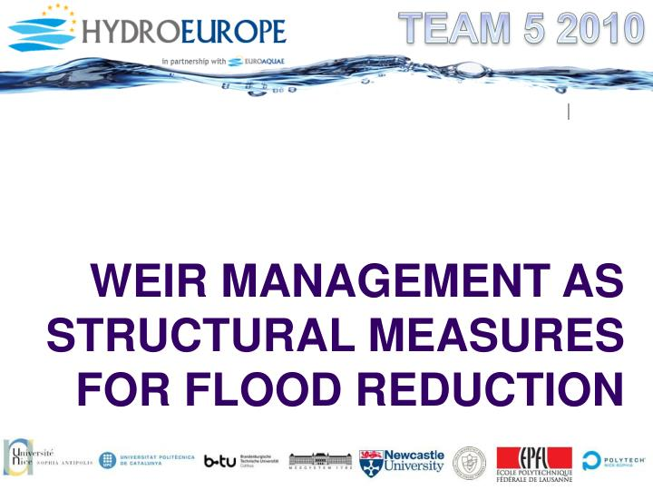 weir management as structural measures for flood reduction n.