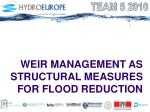 weir management as structural measures for flood reduction