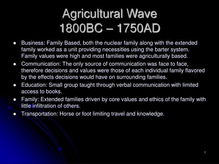 agricultural wave 1800bc 1750ad n.