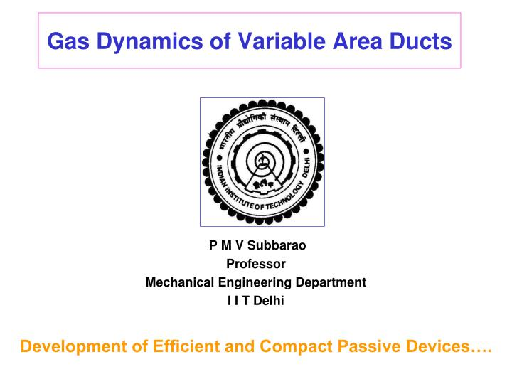 gas dynamics of variable area ducts n.