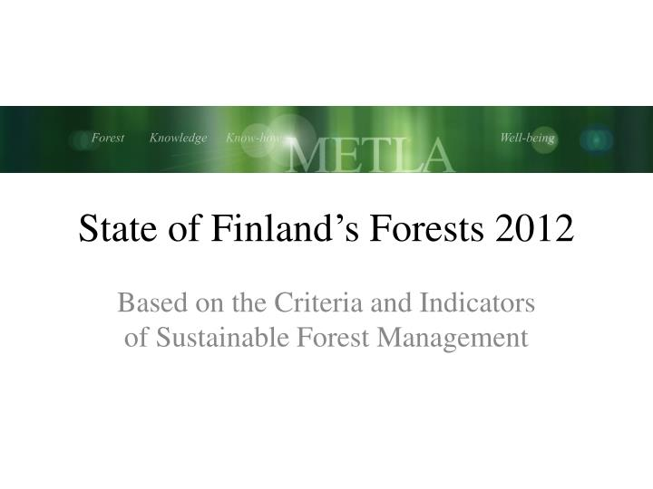 state of finland s forests 2012 n.