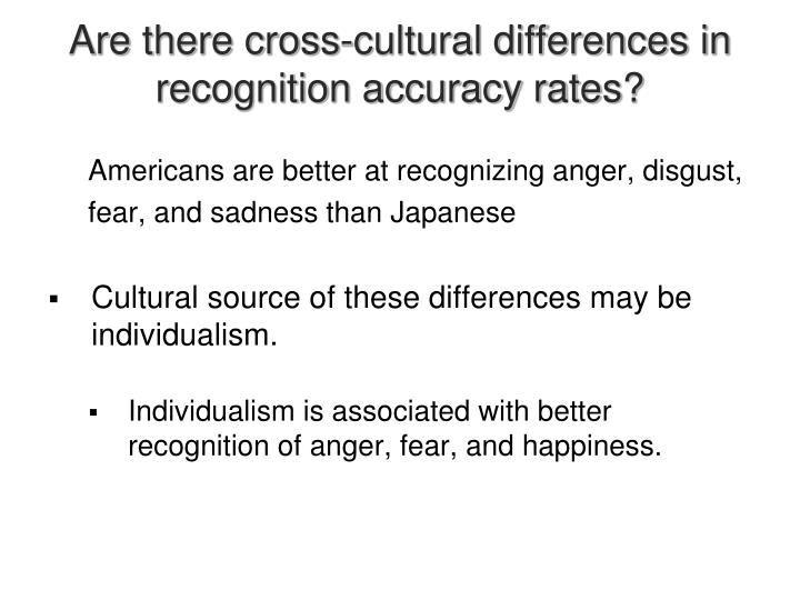 Are there cross-cultural differences in recognition accuracy rates?
