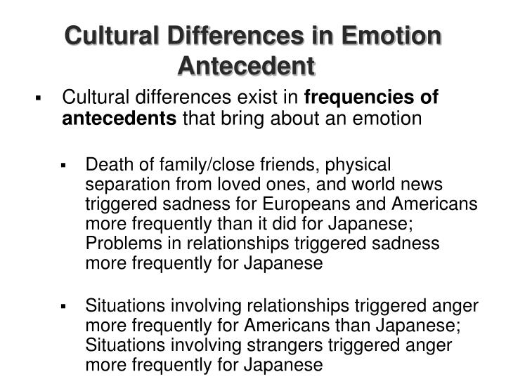Cultural differences in emotion antecedent
