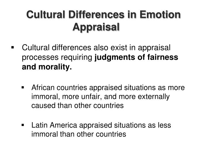 Cultural Differences in Emotion Appraisal