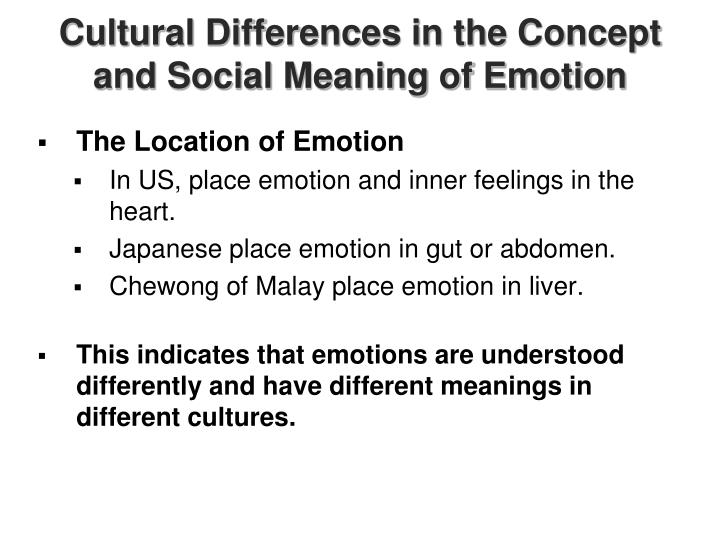 Cultural Differences in the Concept and Social Meaning of Emotion