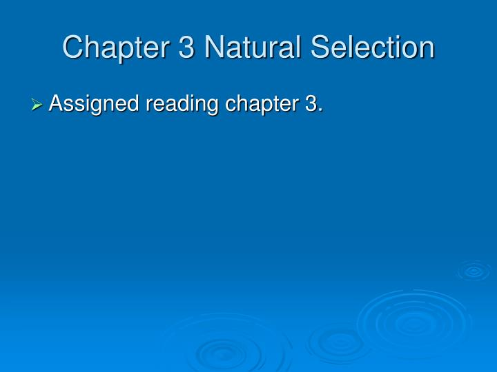 chapter 3 natural selection n.