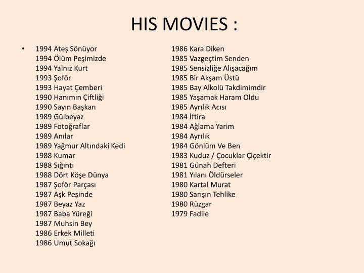 His movies